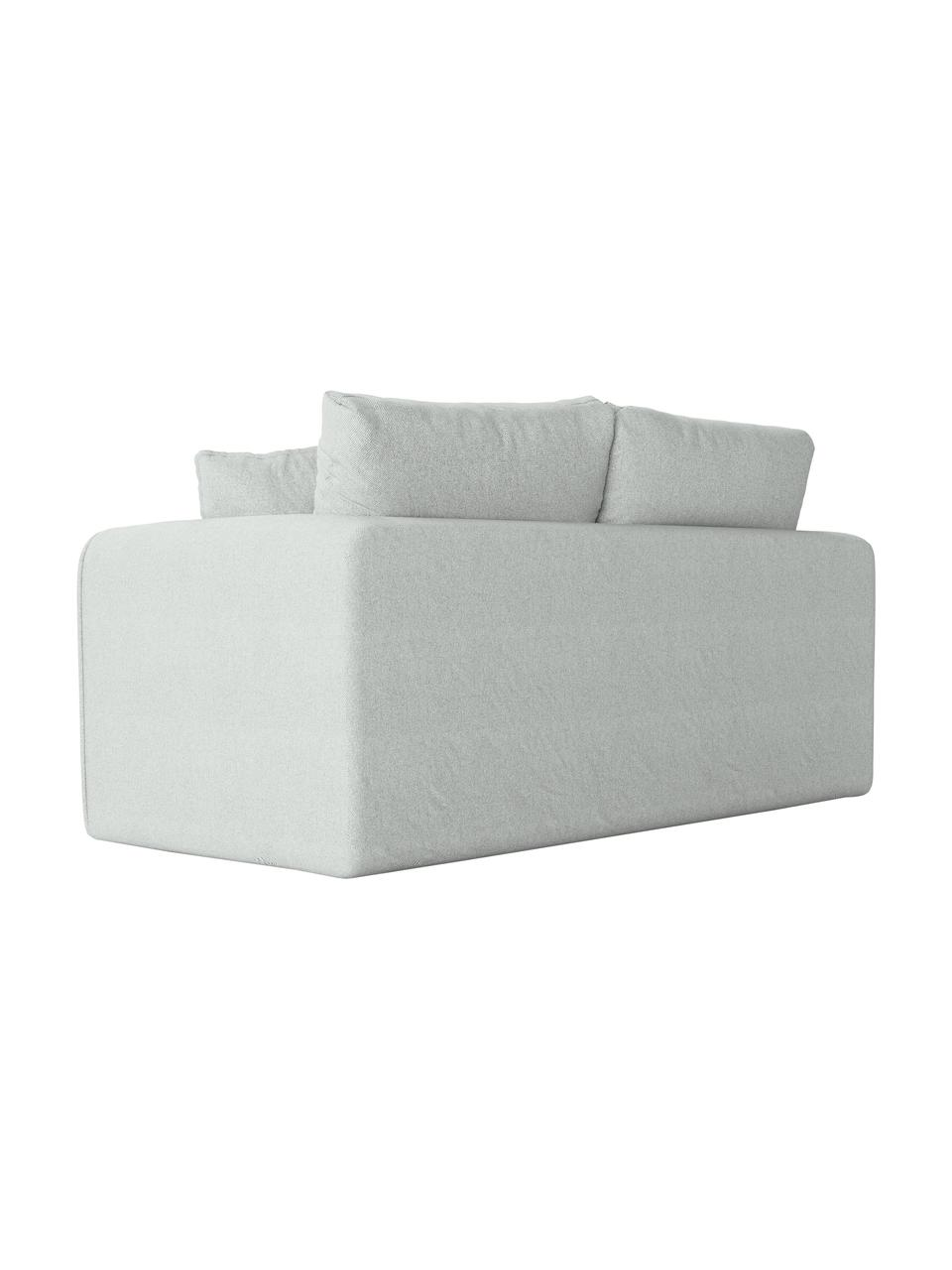 Sofa rozkładana Lido (2-osobowa), Tapicerka: poliester imitujący len D, Nogi: tworzywo sztuczne, Jasny niebieski, S 158 x G 69 cm