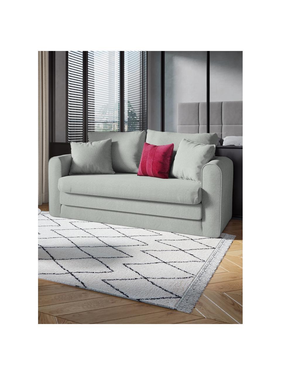 Divano letto 2 posti in tessuto grigio chiaro Lido, Azzurro, Larg. 158 x Alt. 69 cm