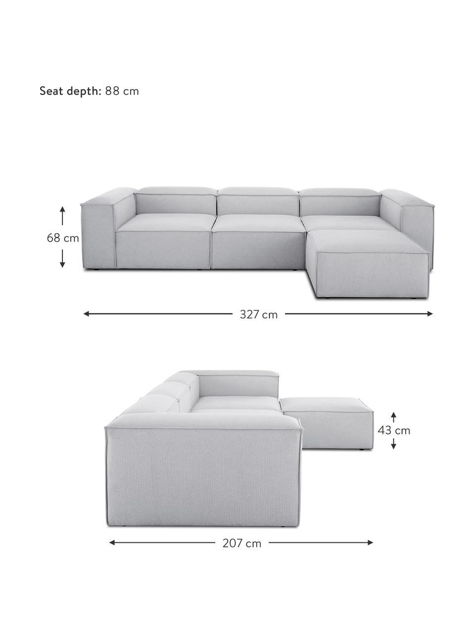 Narożna sofa modułowa Lennon, Tapicerka: poliester 35 000 cykli w , Stelaż: lite drewno sosnowe, skle, Nogi: tworzywo sztuczne, Jasny szary, S 327 x G 207 cm