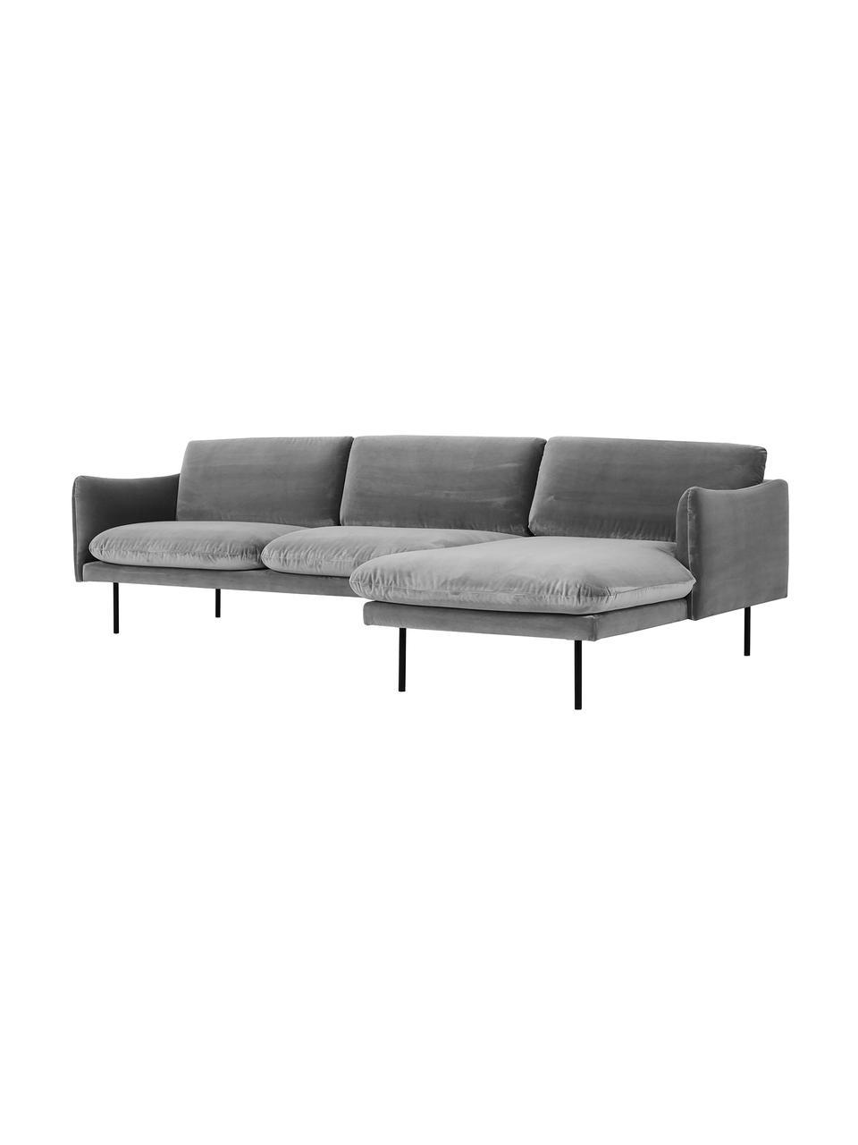 Fluwelen hoekbank Moby in grijs met metalen poten, Bekleding: fluweel (hoogwaardig poly, Frame: massief grenenhout, Poten: gepoedercoat metaal, Fluweel grijs, B 280 x D 160 cm