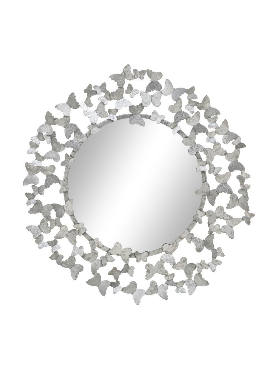 Specchio da parete con cornice in metallo argentato Butterfly, Cornice: metallo, Retro: pannello di fibra a media, Superficie dello specchio: lastra di vetro, Argentato, Ø 67 cm x Prof. 4 cm