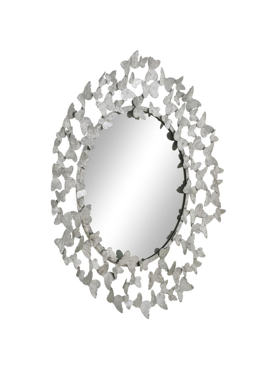 Runder Wandspiegel Butterfly mit silbernem Metallrahmen, Rahmen: Metall, Rückseite: Mitteldichte Holzfaserpla, Spiegelfläche: Spiegelglas, Silberfarben, Ø 67 x T 4 cm