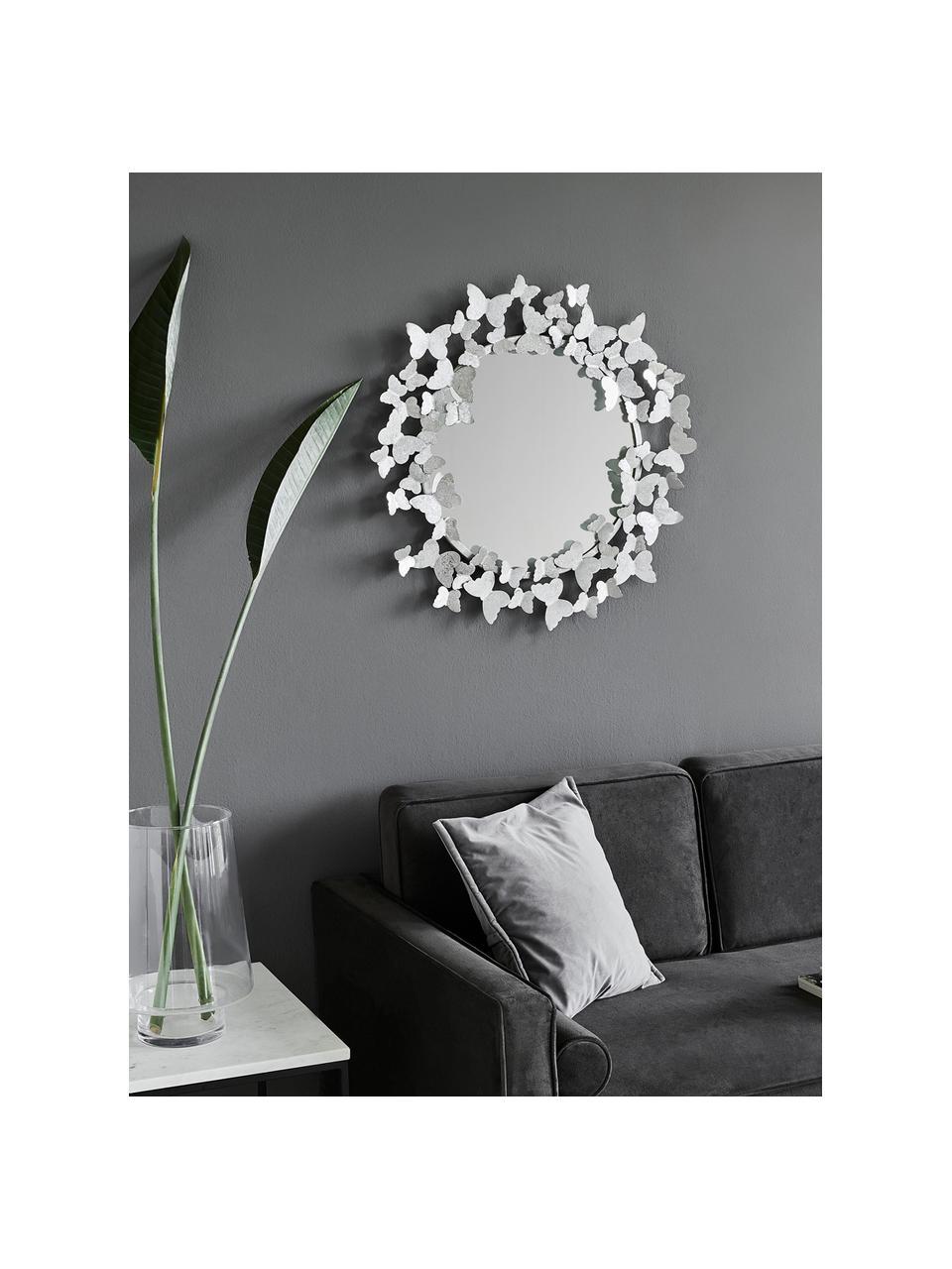 Wandspiegel Butterfly, Frame: metaal, Zilverkleurig, Ø 67 cm