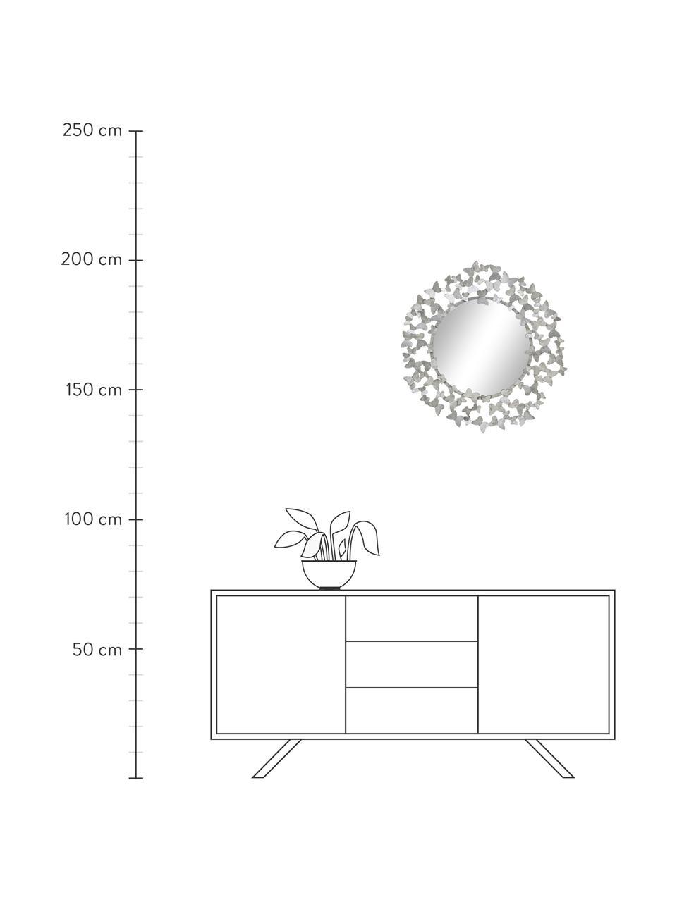 Wandspiegel Butterfly mit Silberrahmen, Rahmen: Metall, Rückseite: Mitteldichte Holzfaserpla, Spiegelfläche: Spiegelglas, Silberfarben, Ø 67 cm