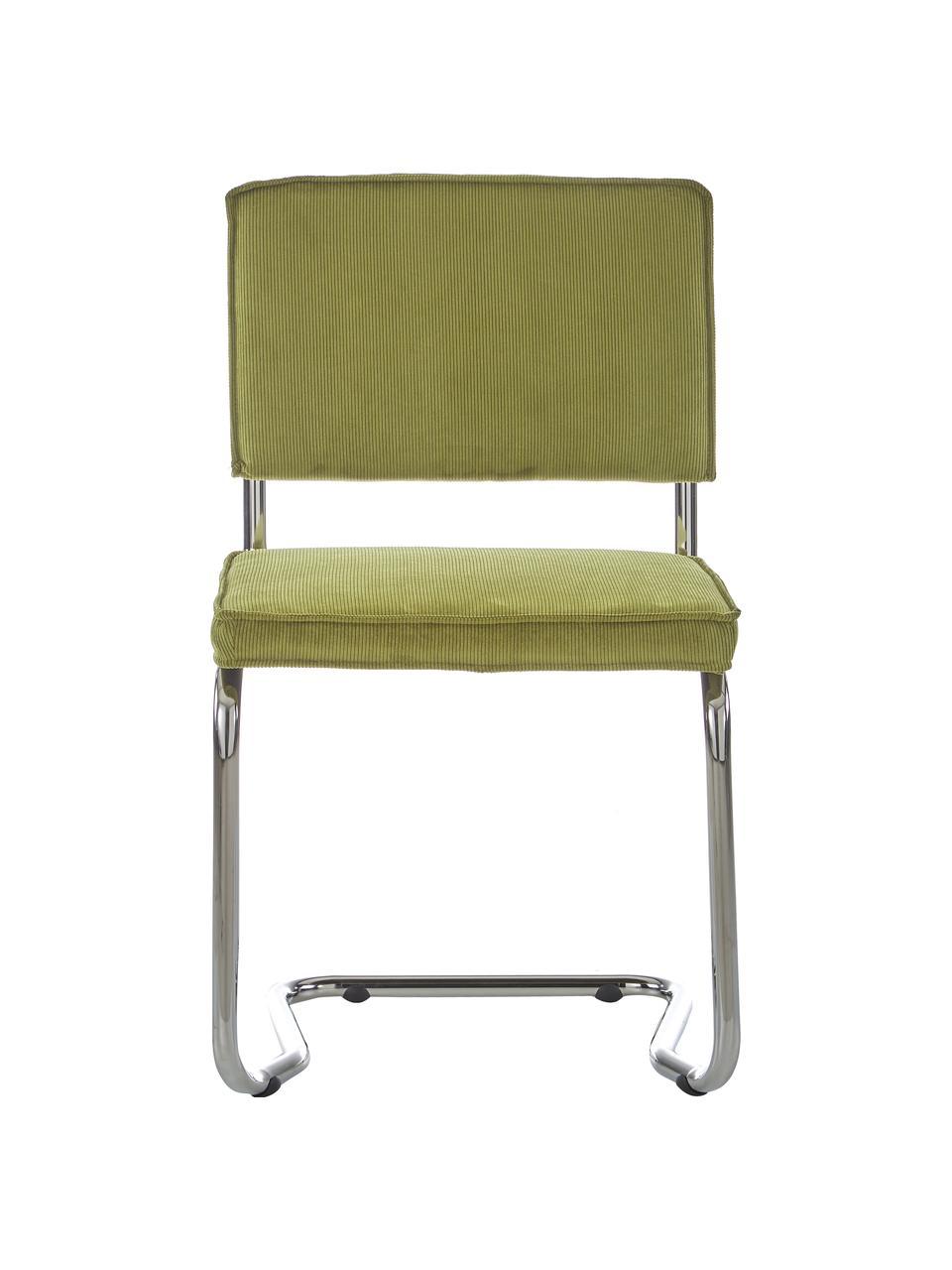 Krzesło podporowe ze sztruksu aksamitnego  Ridge Kink Chair, Tapicerka: aksamitny sztruks (88% ny, Nogi: tworzywo sztuczne, Zielony, S 48 x G 48 cm