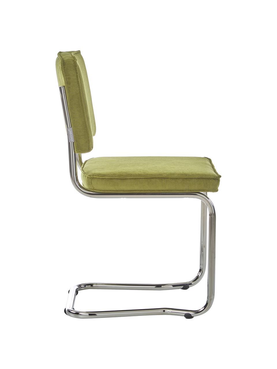 Sedia cantilever in velluto a coste color oliva Kink, Rivestimento: 88% nylon, 12% poliestere, Struttura: metallo cromato, Verde, Larg. 48 x Prof. 48 cm
