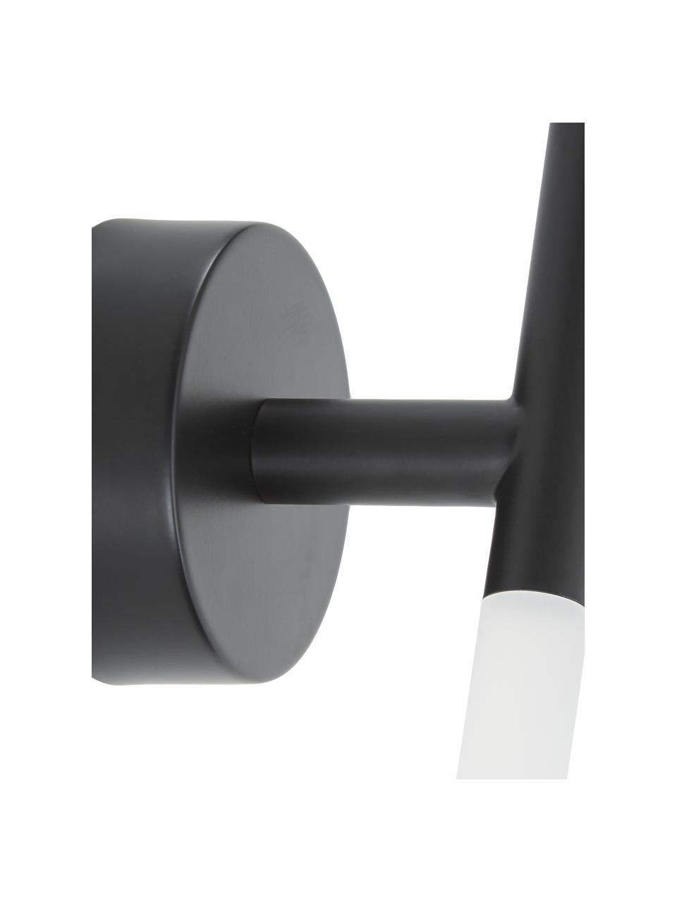 Applique a LED nero Gratia, Struttura: metallo verniciato a polv, Paralume: vetro acrilico, Nero, Larg. 10 x Alt. 45 cm
