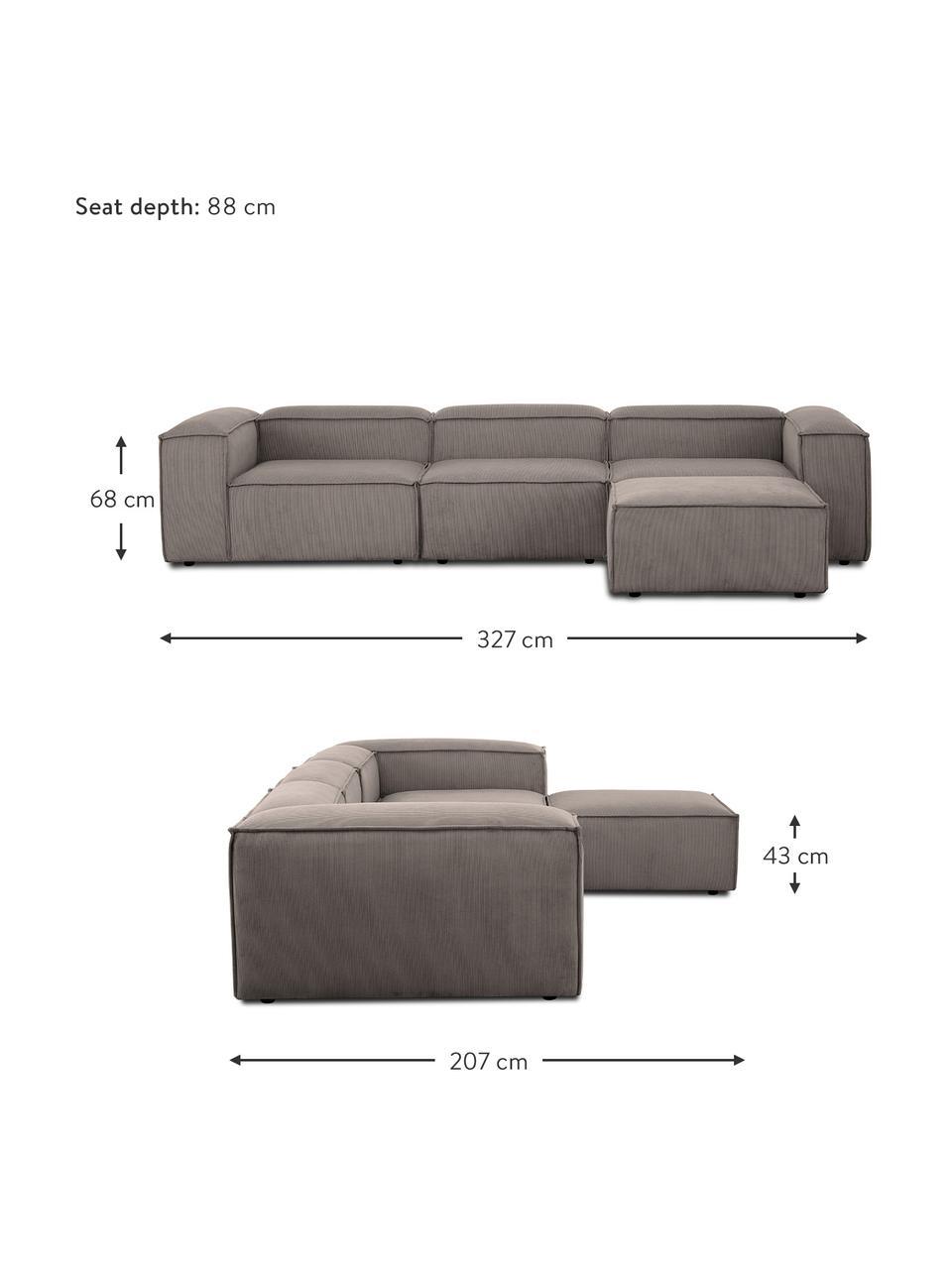 Modulares Sofa Lennon (4-Sitzer) mit Hocker in Braun aus Cord, Bezug: Cord (92% Polyester, 8% P, Gestell: Massives Kiefernholz, Spe, Füße: Kunststoff Die Füße befin, Cord Braun, B 327 x T 207 cm