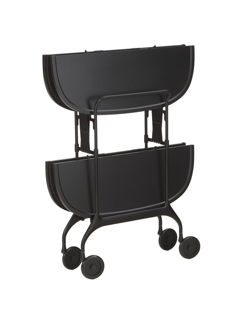 Składany wózek barowy z metalu Gastone, Stelaż: metal lakierowany, Czarny, S 68 x W 70 cm