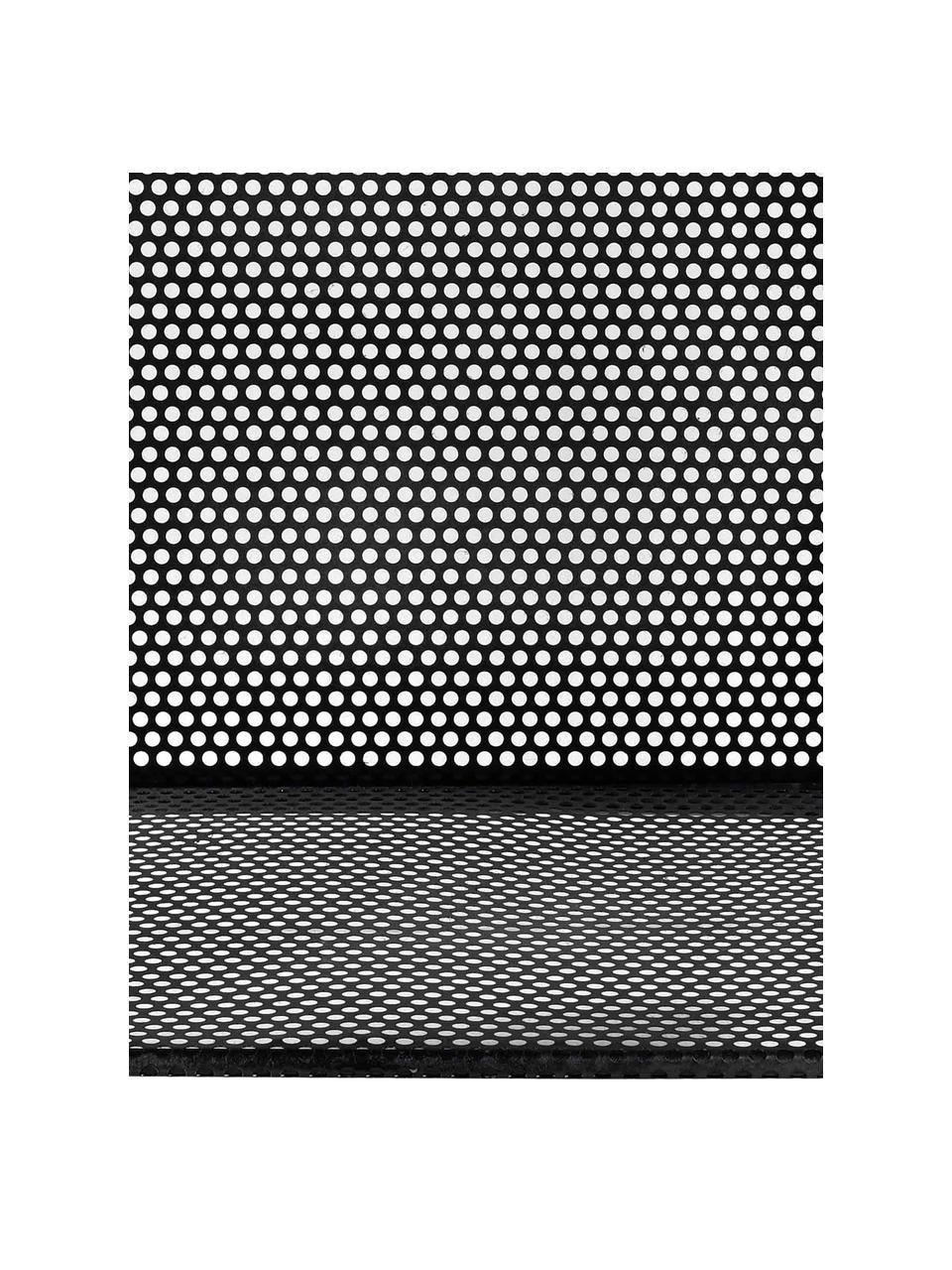 Beistelltisch Loft aus Metall, Metall, grob perforiert mit freiliegenden Messingschweißnähten, Schwarz, 40 x 50 cm