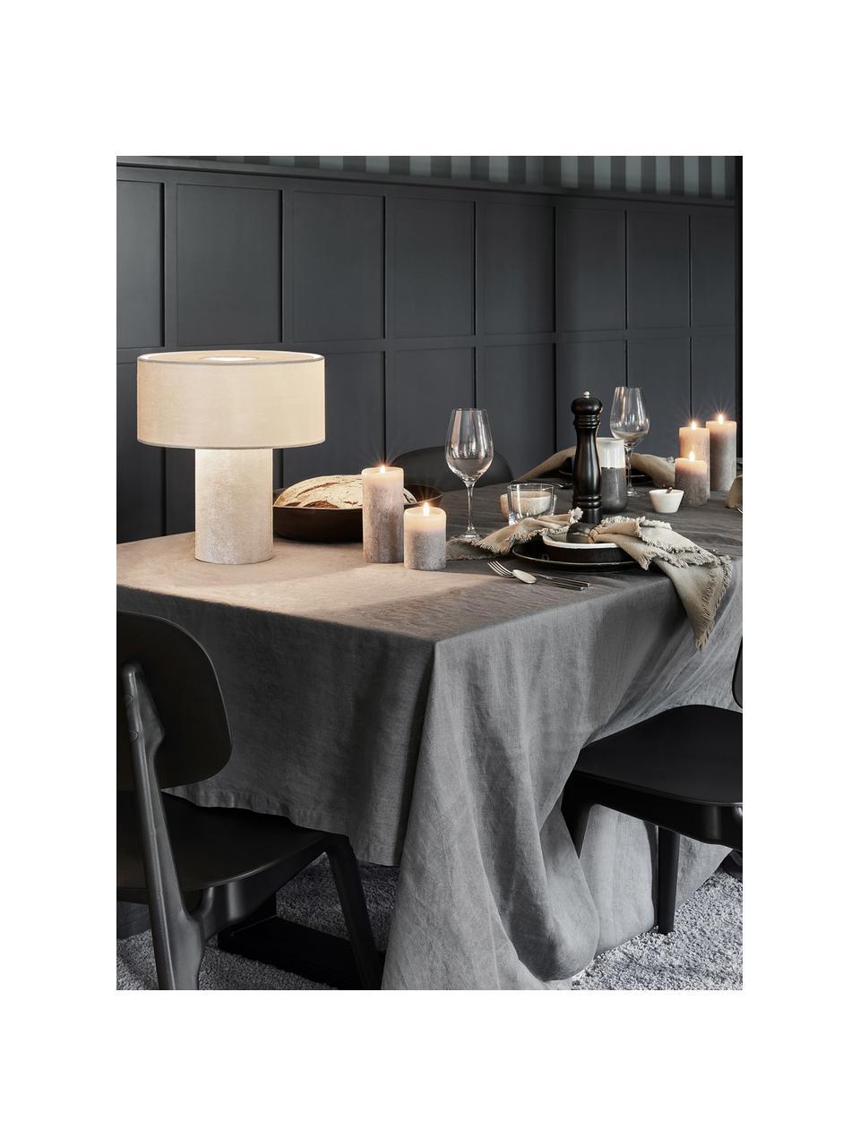 Samt-Tischlampe Frida in Beige, Lampenfuß: Kunststoff mit Samtbezug, Lampenschirm: Samt, Beige, Ø 30 x H 36 cm
