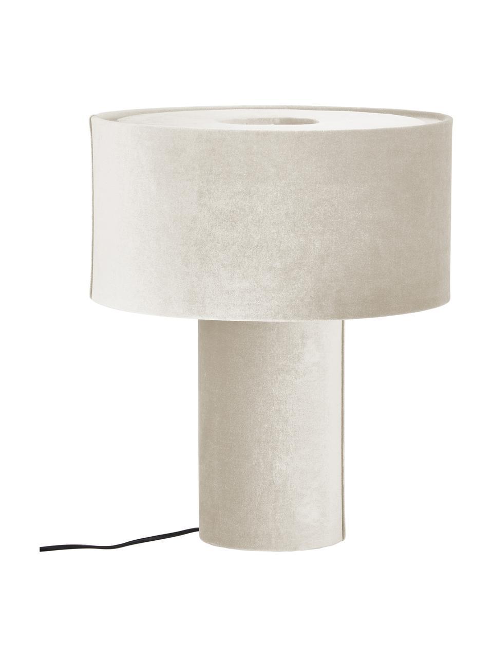 Fluwelen tafellamp Frida in beige, Lampvoet: kunststof met fluwelen be, Lampenkap: fluweel, Diffuser: fluweel, Beige, Ø 30 x H 36 cm