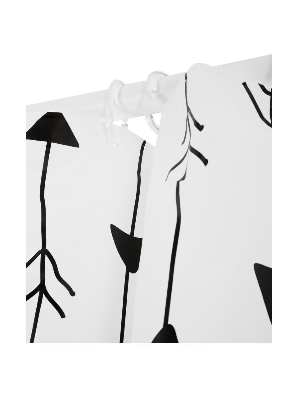 Rideau de douche blanc à imprimé Katie, Blanc, noir