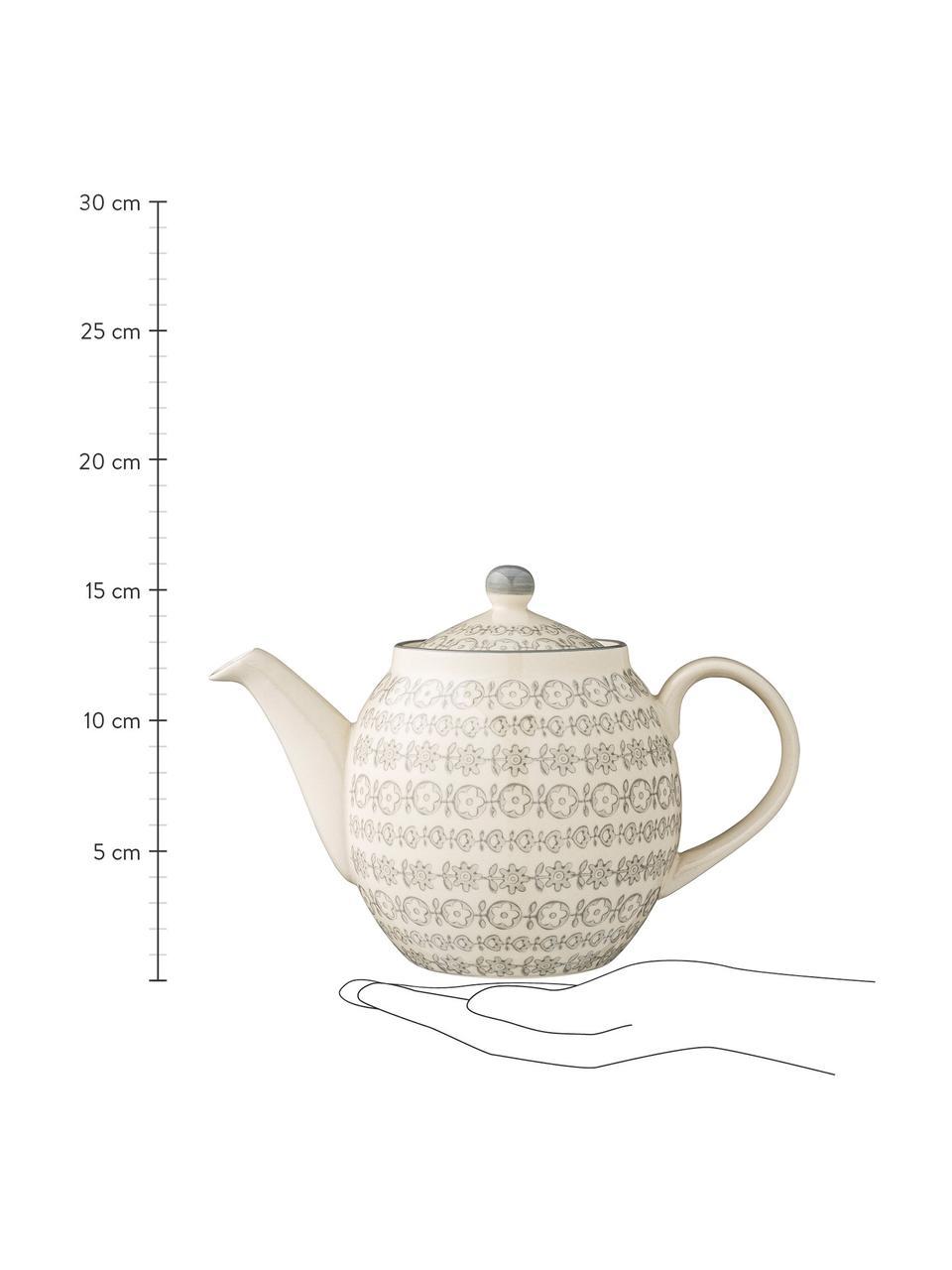 Handbemalte Teekanne Karine mit kleinem Muster, 1.2 L, Steingut, Grau, Cremefarben, Ø 24 x H 16 cm