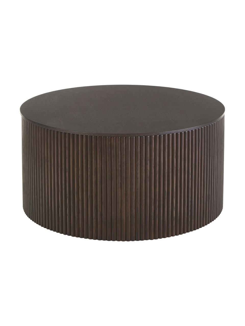 Holz-Couchtisch Nele mit Stauraum, Mitteldichte Holzfaserplatte (MDF) mit Eschenholzfurnier, Braun, Ø 70 x H 36 cm