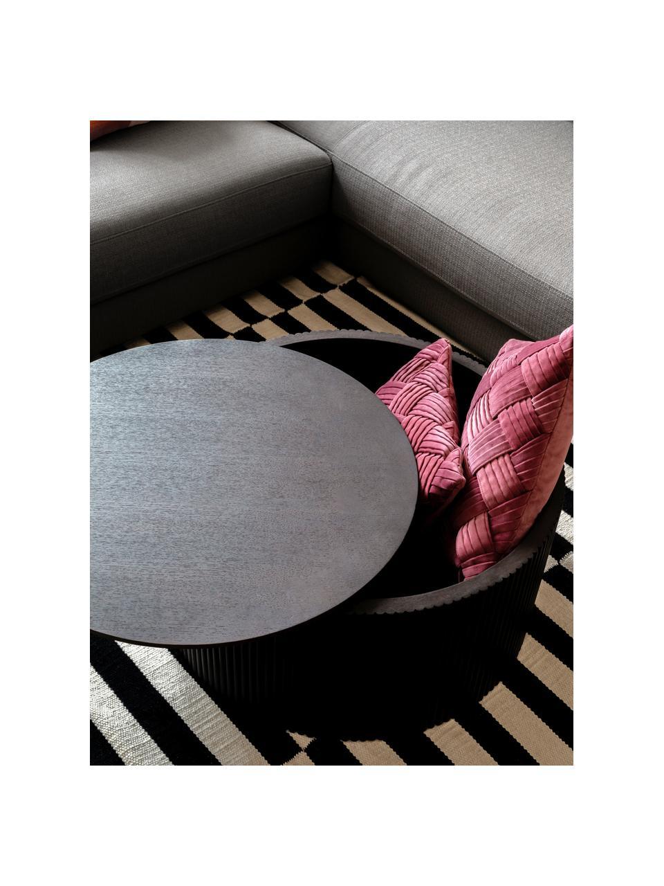 Houten salontafel Nele met opbergruimte, MDF met essenhoutfineer, Bruin, Ø 70 x H 36 cm