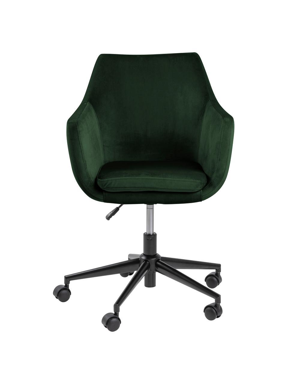 Krzesło biurowe z aksamitu Nora, obrotowe, Tapicerka: poliester (aksamit) 2500, Stelaż: metal malowany proszkowo, Aksamitny leśny zielony, S 58 x G 58 cm