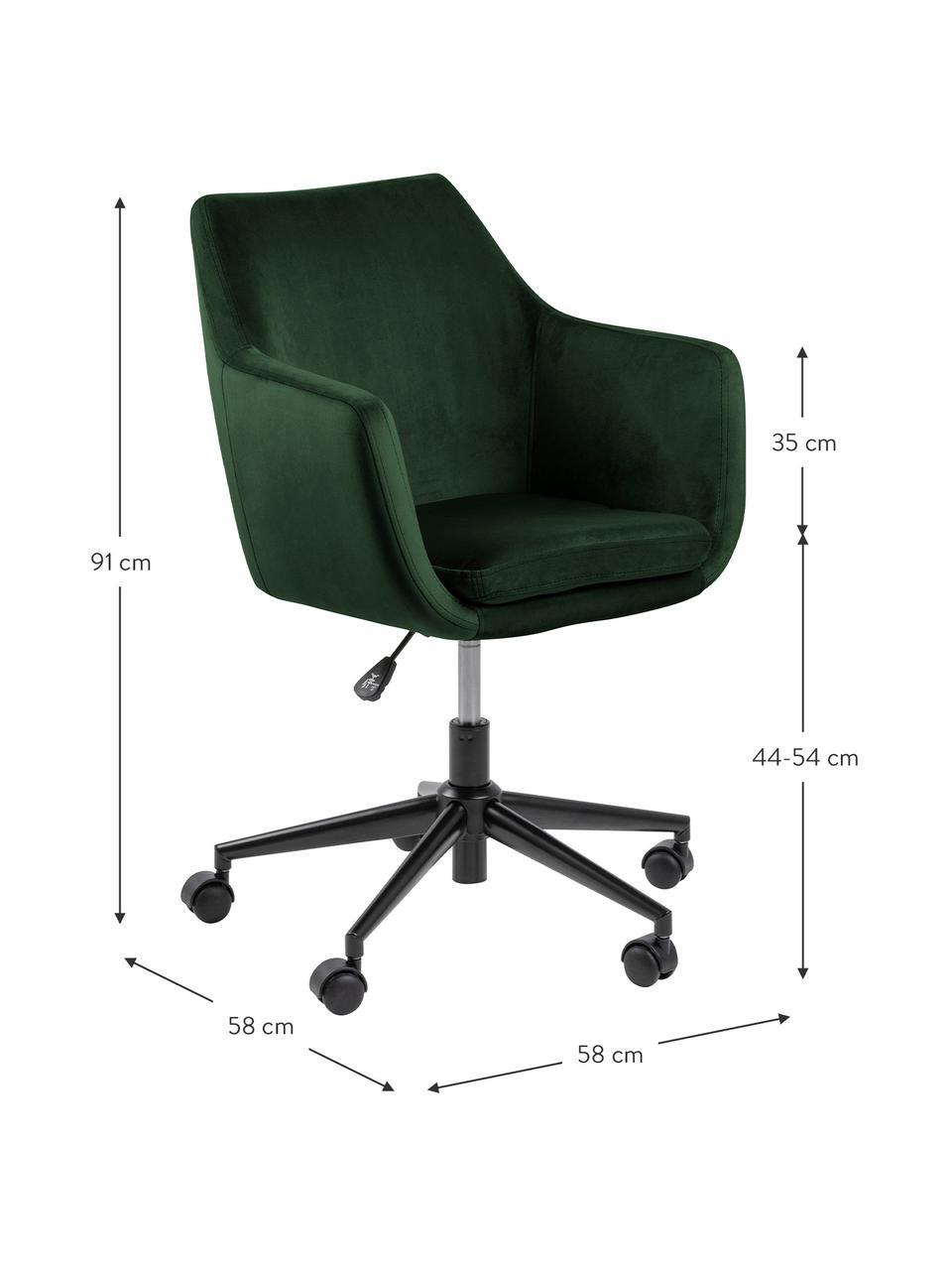 Sedia da ufficio girevole in velluto Nora, Rivestimento: poliestere (velluto) 25.0, Struttura: metallo verniciato a polv, Verde bosco, nero, Larg. 58 x Prof. 58 cm