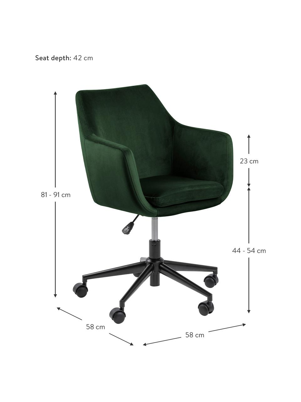 Samt-Bürodrehstuhl Nora, höhenverstellbar, Bezug: Polyester (Samt) 25.000 S, Gestell: Metall, pulverbeschichtet, Samt Waldgrün, B 58 x T 58 cm