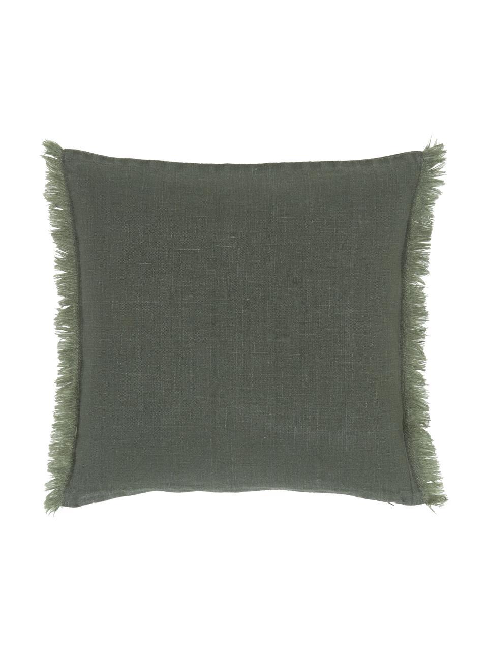 Federa arredo in lino verde scuro con frange Luana, 100% lino, Verde, Larg. 40 x Lung. 40 cm