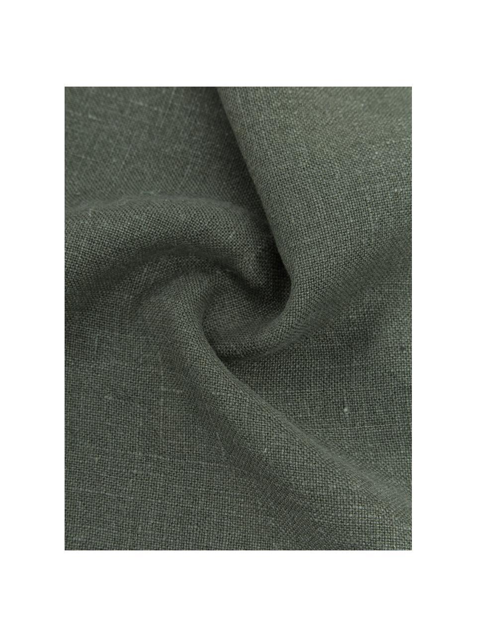 Poszewka na poduszkę z lnu z frędzlami Luana, 100% len, Zielony, S 40 x D 40 cm