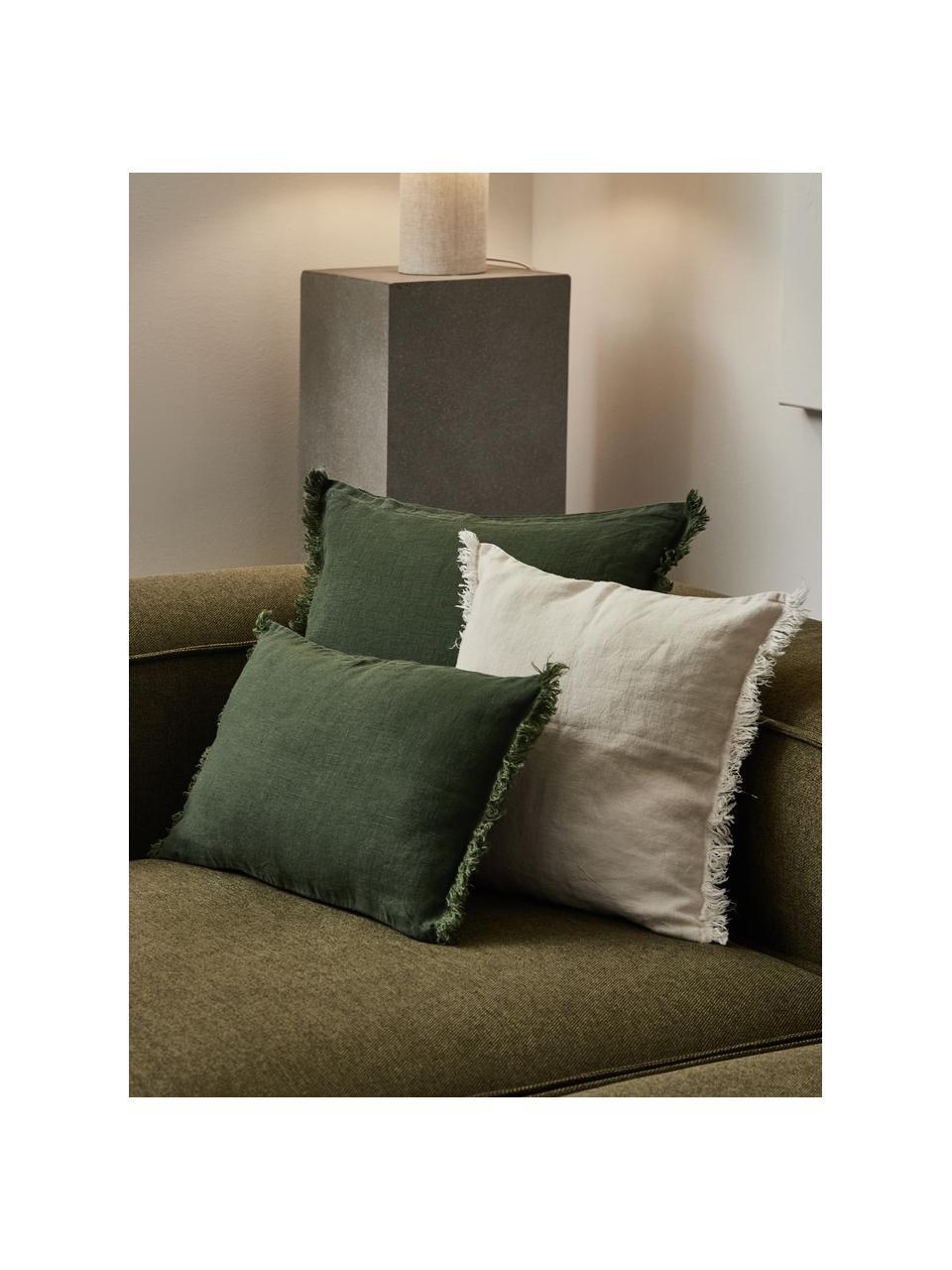 Linnen kussenhoes Luana in donkergroen met franjes, 100% linnen, Groen, 40 x 40 cm