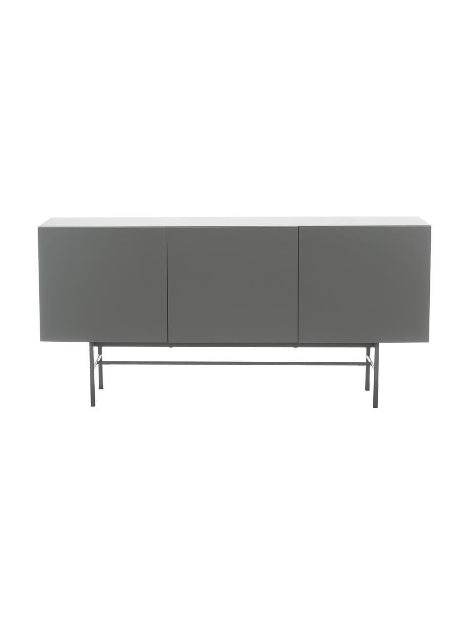 Credenza moderna con 3 ante Anders, Piedini: metallo verniciato a polv, Grigio, Larg. 160 x Alt. 79 cm