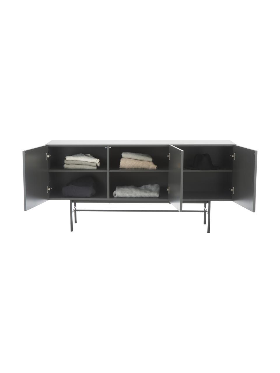 Modernes Sideboard Anders mit 3 Türen in Grau, Korpus: Mitteldichte Holzfaserpla, Füße: Metall, pulverbeschichtet, Grau, 160 x 79 cm