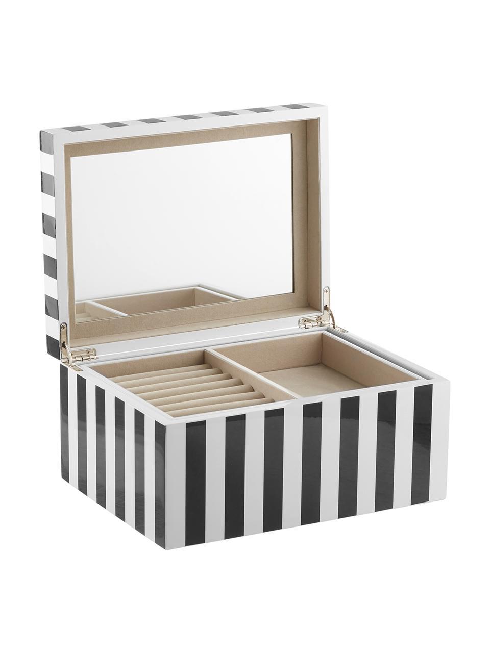 Boîte à bijoux Taylor avec miroir, Noir/blanc rayé