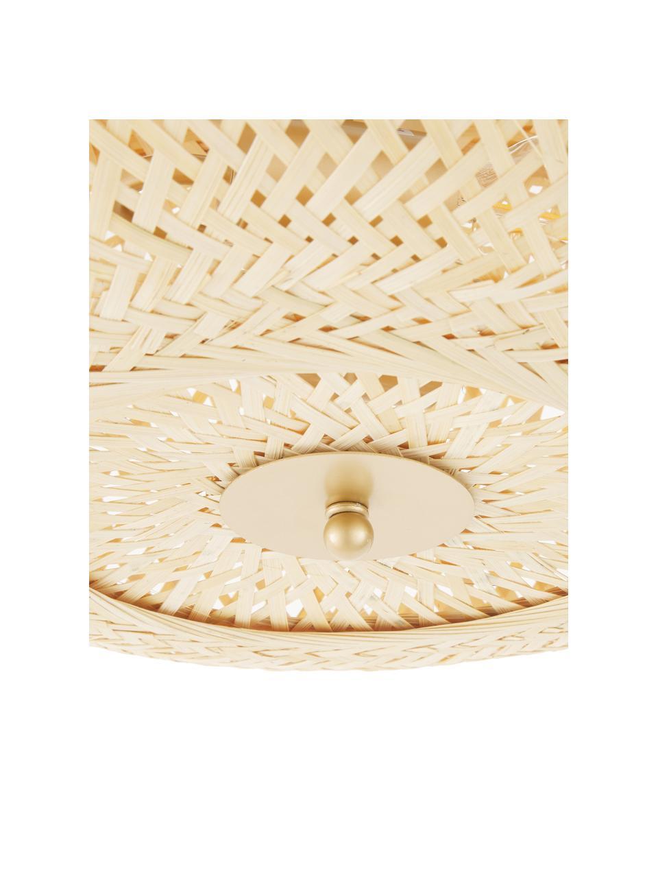 Lampa sufitowa z włókna bambusowego Evelyn, Klosz: drewno bambusowe Osłona mocowania sufitowego i złącza: beżowy, matowy, Ø 50 x W 20 cm