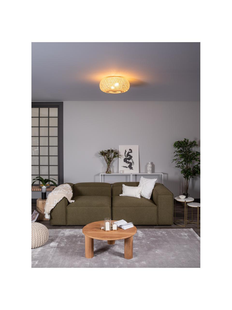 Lampa sufitowa z drewna bambusowego Evelyn, Klosz: drewno bambusowe osłona mocowania sufitowego i złącza: beżowy, matowy, Ø 50 x W 20 cm