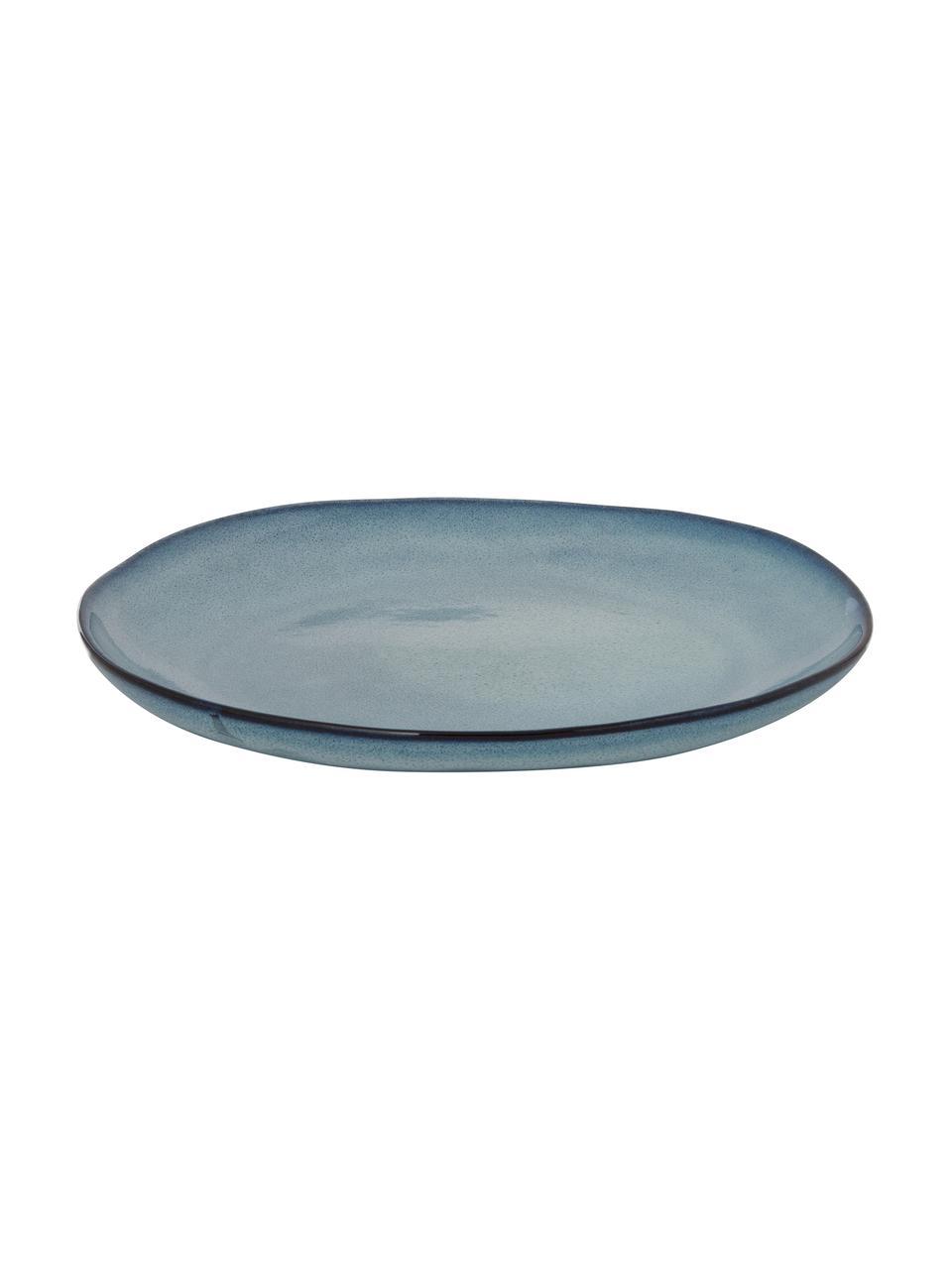 Ręcznie wykonany talerz śniadaniowy Sandrine, Ceramika, Odcienie niebieskiego, Ø 22 x W 2 cm