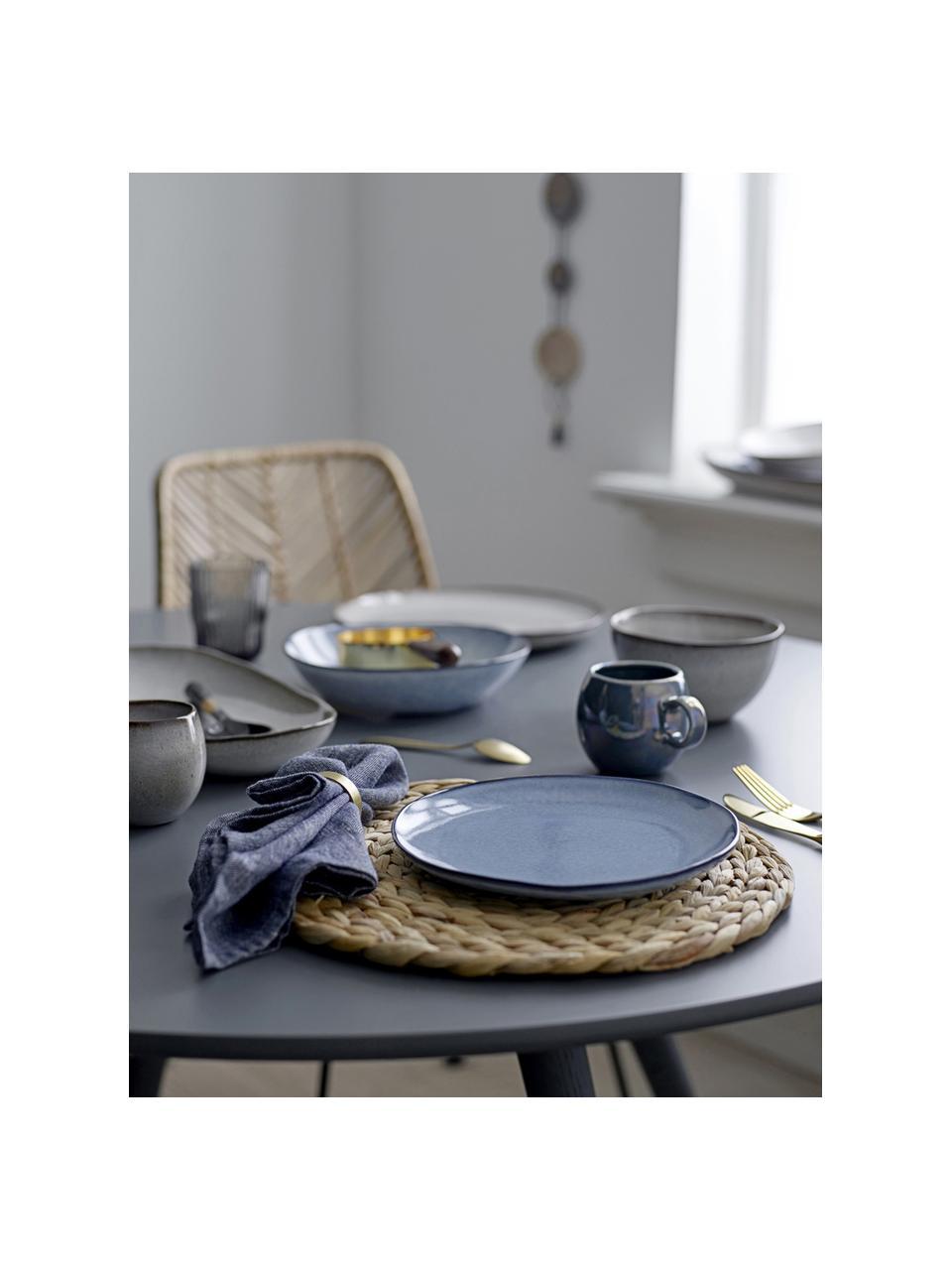 Handgemachter Steingut-Frühstücksteller Sandrine in Blautönen, Steingut, Blautöne, Ø 22 x H 2 cm
