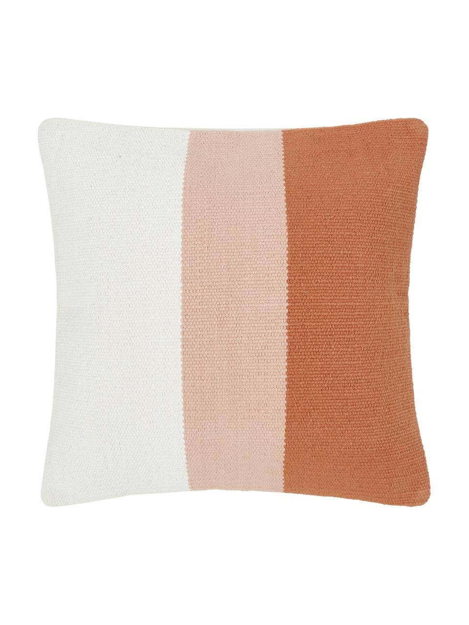 Handgewebte Kissenhülle Lopes mit Streifen, 100% Baumwolle, Orange,Rosa,Weiß, 45 x 45 cm