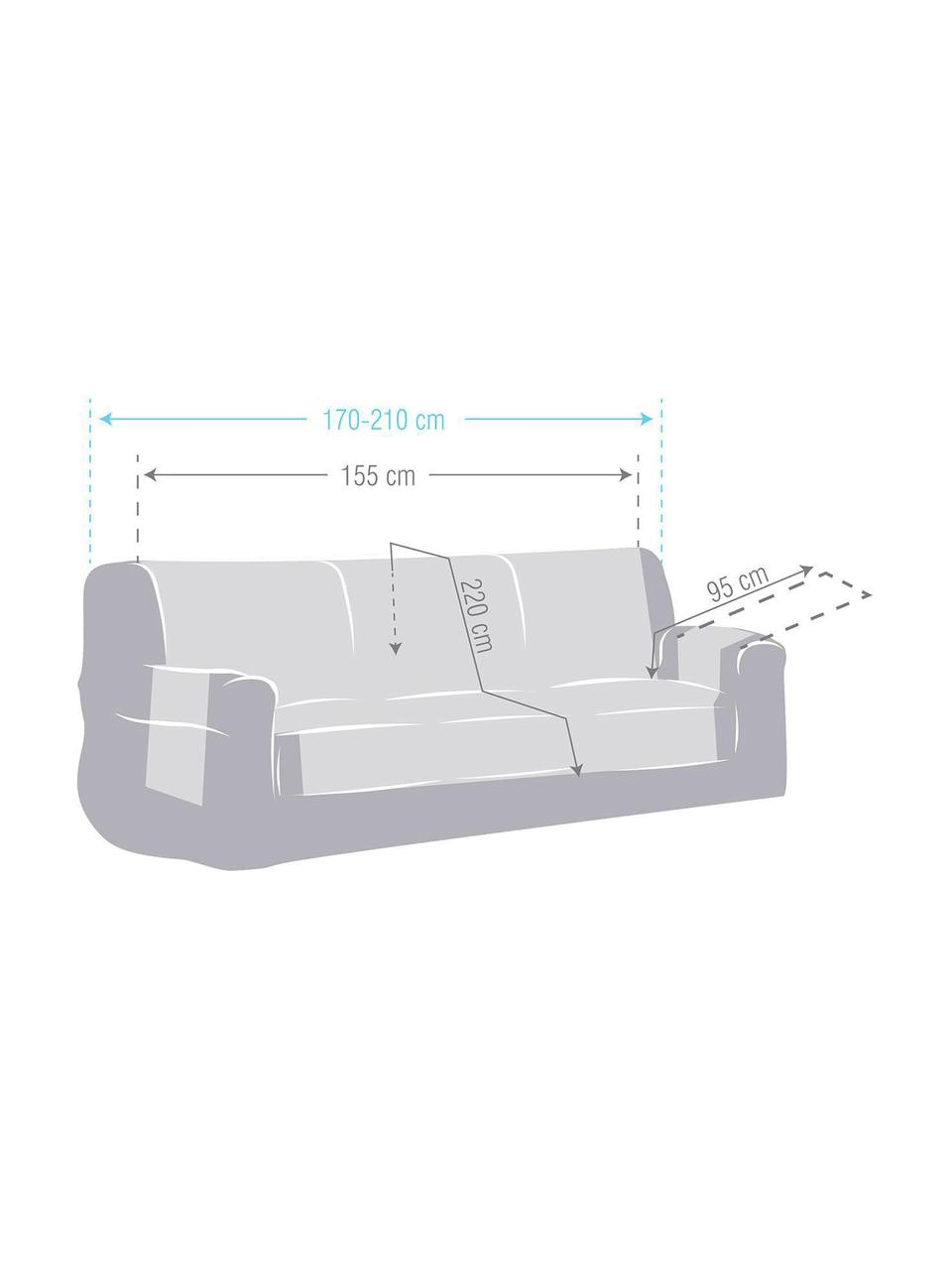 Copridivano Levante, 65% cotone, 35% poliestere, Grigio, Larg. 150 x Lung. 220 cm