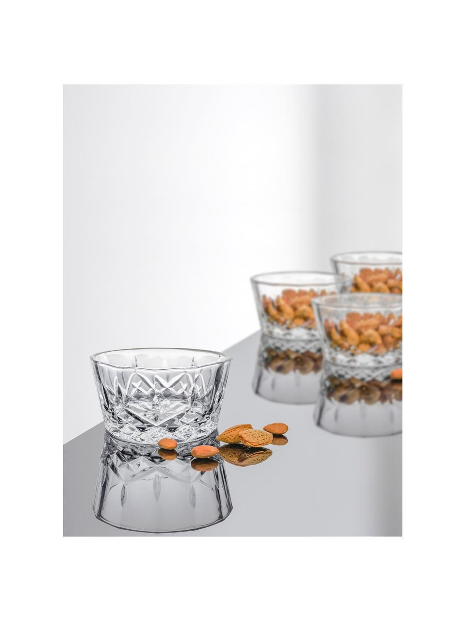 Glazen dipschalen Harvey met kristalreliëf, 4 stuks, Glas, Transparant, Ø 11 cm x H 6 cm