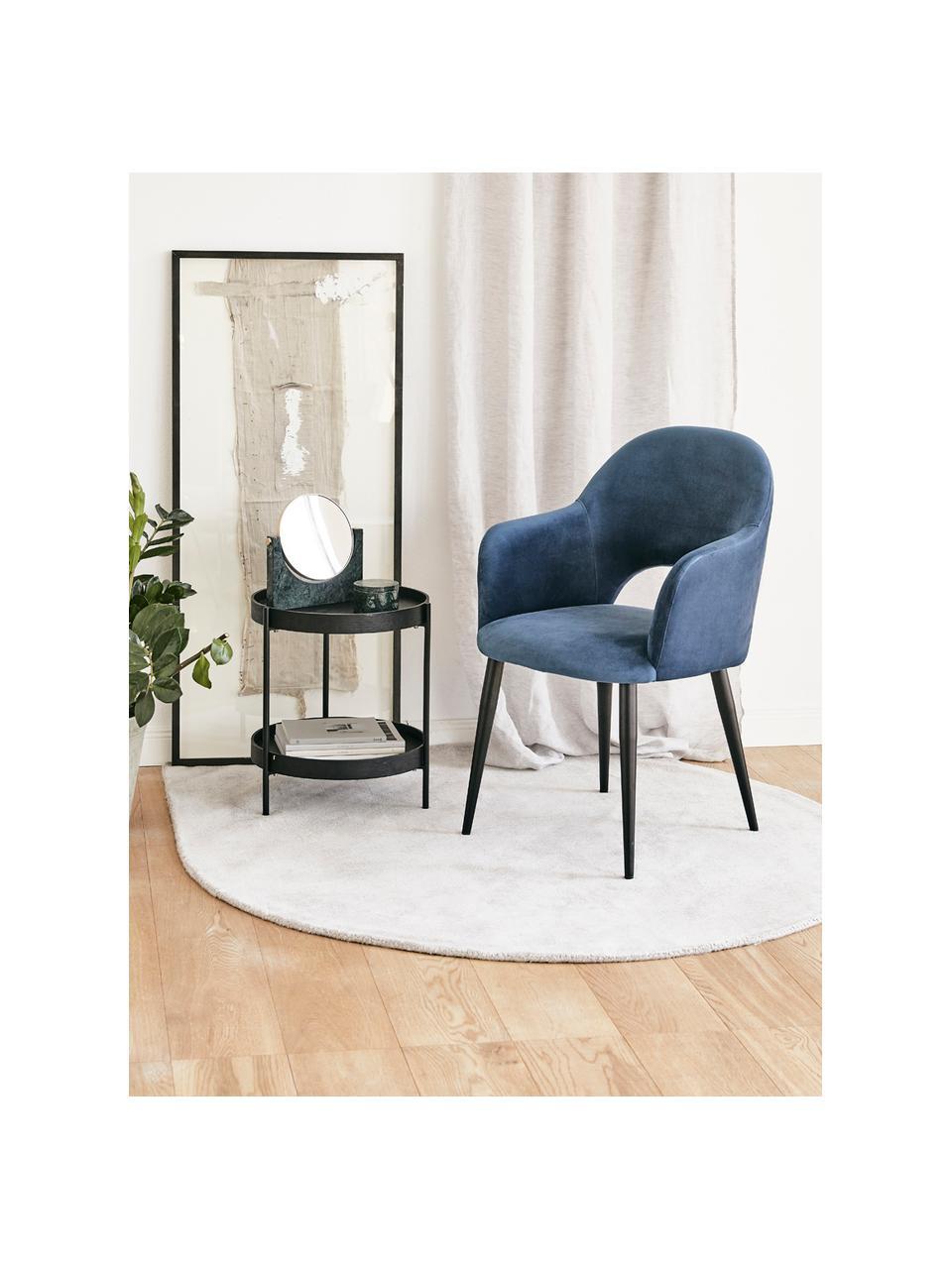 Fluwelen armstoel Rachel, Bekleding: fluweel (polyester), Poten: gepoedercoat metaal, Fluweel donkerblauw, B 47 x D 64 cm
