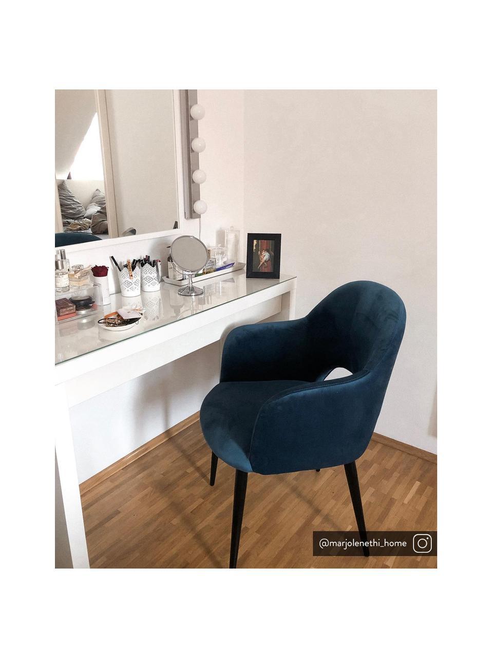 Sedia con braccioli in velluto blu scuro Rachel, Rivestimento: velluto (poliestere) Il r, Gambe: metallo verniciato a polv, Velluto blu scuro, Larg. 64 x Prof. 47 cm