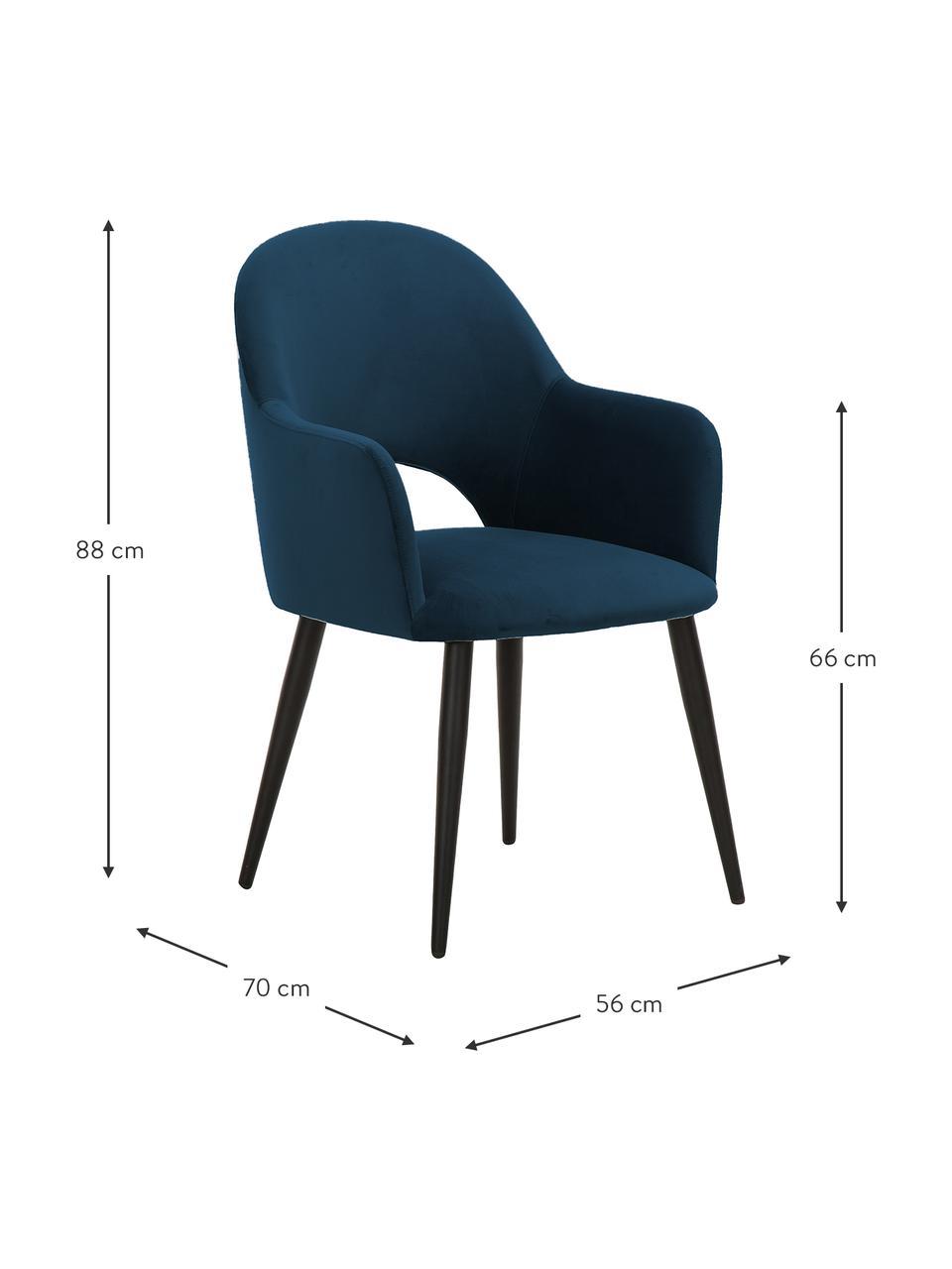Sedia con braccioli in velluto blu scuro Rachel, Rivestimento: velluto (poliestere) Il r, Gambe: metallo verniciato a polv, Velluto blu scuro, Larg. 56 x Alt. 70 cm