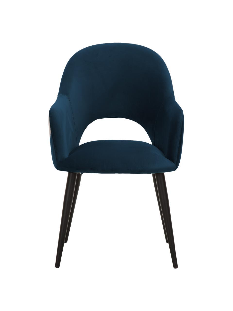 Krzesło z podłokietnikami z aksamitu Rachel, Tapicerka: aksamit (wysokiej jakości, Nogi: metal malowany proszkowo, Aksamitny ciemny niebieski, S 56 x G 70 cm
