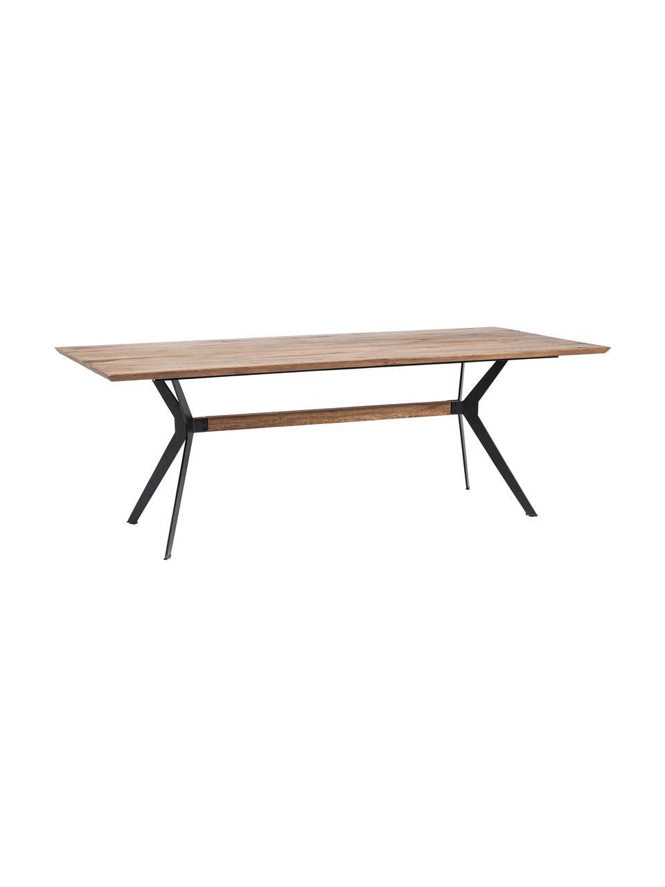 Eettafel Downtown met massief houten blad, Tafelblad: eikenhout, geolied, Poten: gepoedercoat staal en eik, Eiken, zwart, 220 x 90 cm