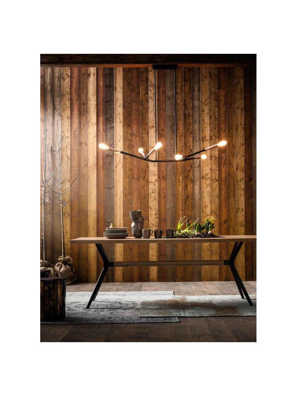 Table en bois massif et pieds en métal Downtown, Pieds: noir Plateau: chêne