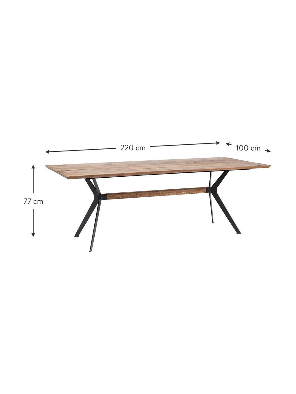 Stół do jadalni z blatem z litego drewna Downtown, Nogi: metal malowany proszkowo, Blat: drewno dębowe, olejowane, Nogi: czarny Blat: drewno dębowe, S 220 x G 100 cm