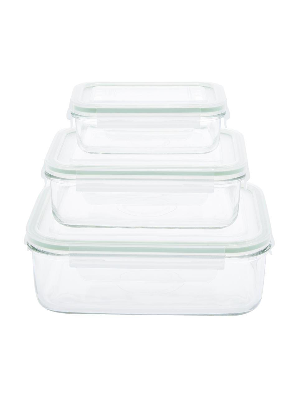 Vershoudbakjesset Alma, 3-delig, Houder: gehard glas, vrij van ver, Seal: polypropyleen, Sluiting: siliconen, Transparant, lichtgroen, Set met verschillende formaten