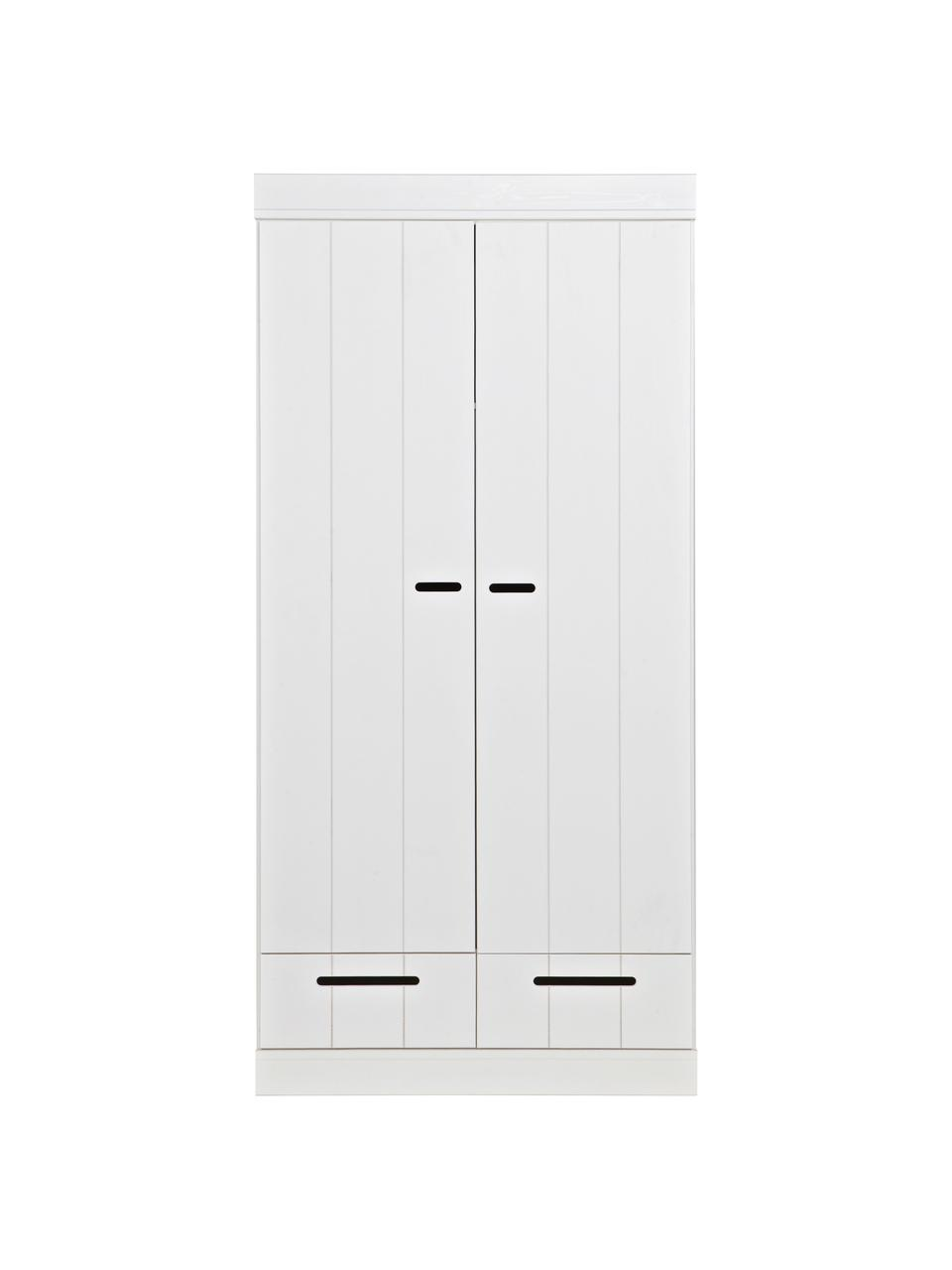 Guardaroba bianca con 2 ante Connect, Ripiani: melamina, Bianco, Larg. 94 x Alt. 195 cm