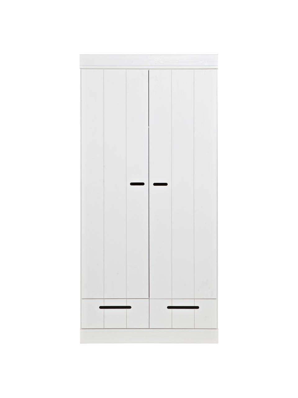 Kleiderschrank Connect mit 2 Türen in Weiß, Korpus: Kiefernholz, massiv, lack, Einlegeböden: Melamin, Weiß, 94 x 195 cm