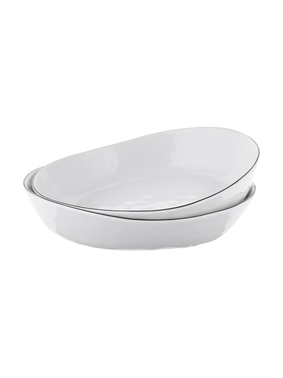 Handgemaakte Schalen Salt Ø 20 cm met zwarte rand, 2 stuks, Porselein, Gebroken wit, zwart, Ø 20 x H 4 cm