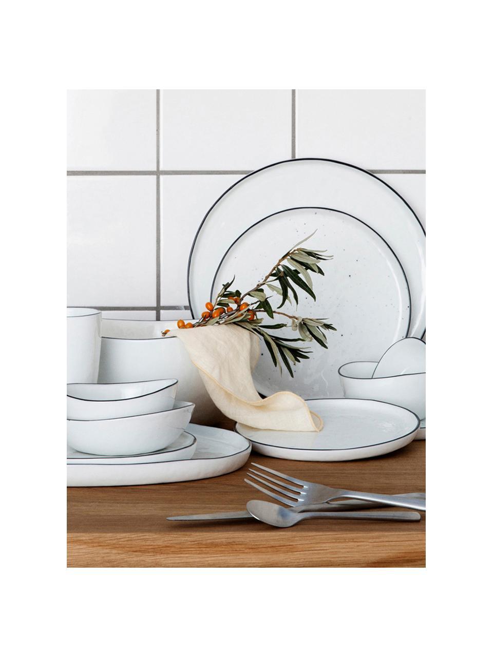 Cuencos artesanales Salt, 2uds., Porcelana, Blanco crudo, negro, Ø 20 x Al 4 cm