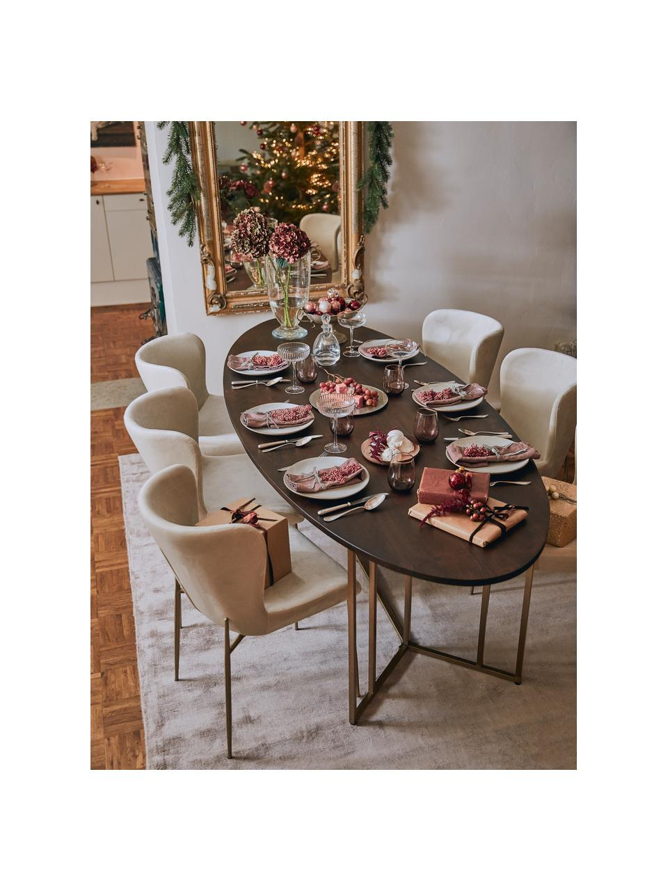 Ovale massief houten eettafel Luca in bruin, Tafelblad: massief mangohout, gebors, Frame: gepoedercoat metaal, Tafelblad: donker gelakt mangohout. Frame: goudkleurig, B 180 x D 100 cm