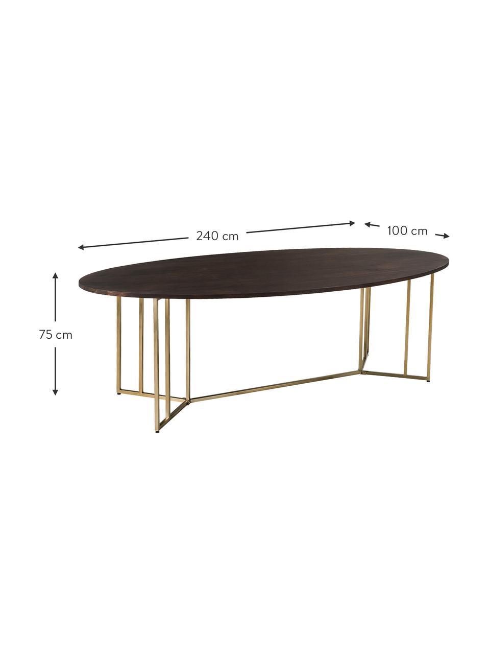 Mesa de comedor de madera maciza Luca, Tablero: madera de mango maciza, c, Estructura: metal con pintura en polv, Madera oscura, dorado, An 180 x F 100 cm